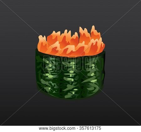 3d Sushi Roll Traditional Seaweed Fresh Raw Food. Japanese Seafood Sushi Roll. Classical Asian Food.