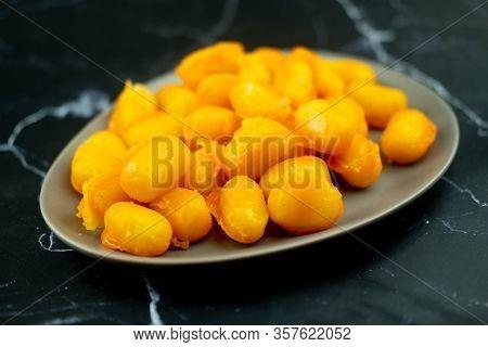 Golden Jackfruit Seeds, Mung Bean Marzipan And Egg Yolk Dessert (thai Called : Met Khanoon). It Give