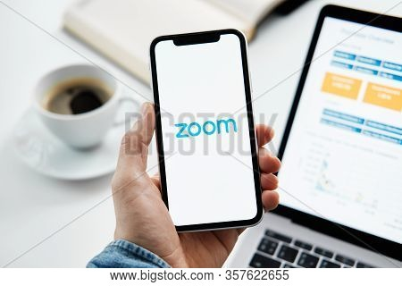 Tyumen, Russia - March 25, 2020: Zoom Cloud Meetings. Video Conferencing Software