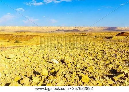View Of Landscape Along The Ramon Colors Route, In Makhtesh Ramon (ramon Crater), The Negev Desert,