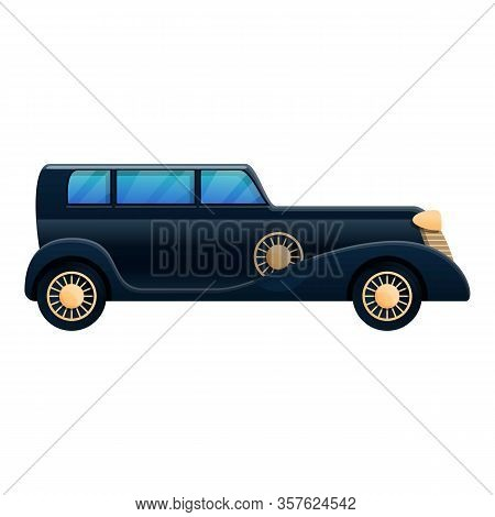 Limousine Old Car Icon. Cartoon Of Limousine Old Car Vector Icon For Web Design Isolated On White Ba