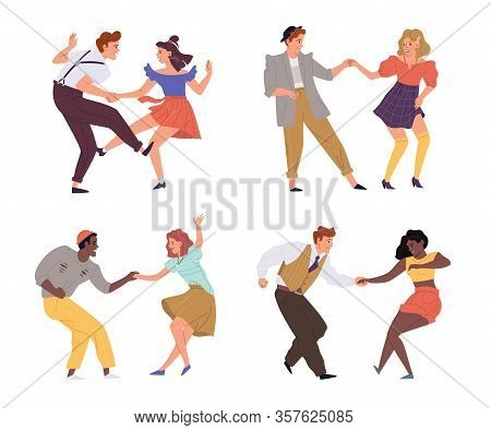 Vector Illustration Of Couples Dancing Twist 1950s, 1960s, 1970s Set. Young Man And Woman Dance On R