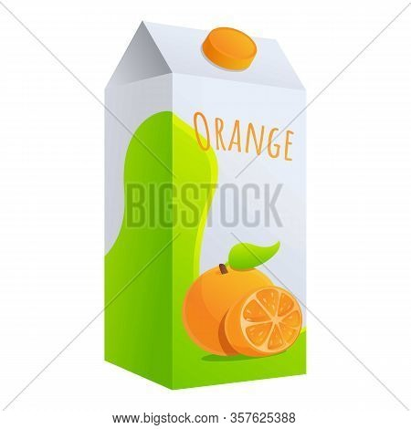Orange Juice Package Icon. Cartoon Of Orange Juice Package Vector Icon For Web Design Isolated On Wh