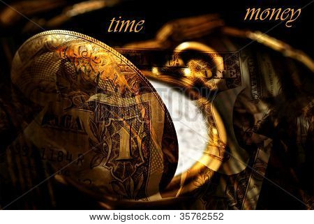 Conceptual image for 'Time is Money'.  Montage created with macro of antique pocket watch blended with photos of US currency.  Text is on solid black background and easily removed.