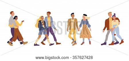 Vector Illustration Of Active Romantic Couples Set. Young Woman And Man Walking Together On Date, Ho