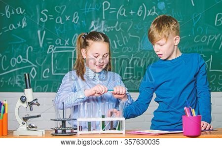Chemical Analysis. Kids Study Chemistry. School Chemistry Lesson. School Laboratory. School Educatio