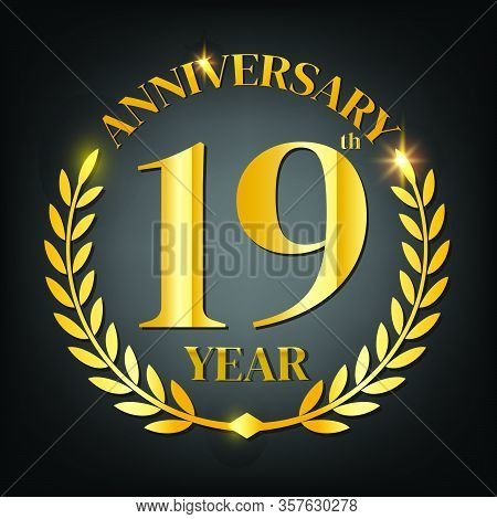 19th Golden Anniversary Logo,with Laurel Wreath And Gold Ribbon Vector Illustration