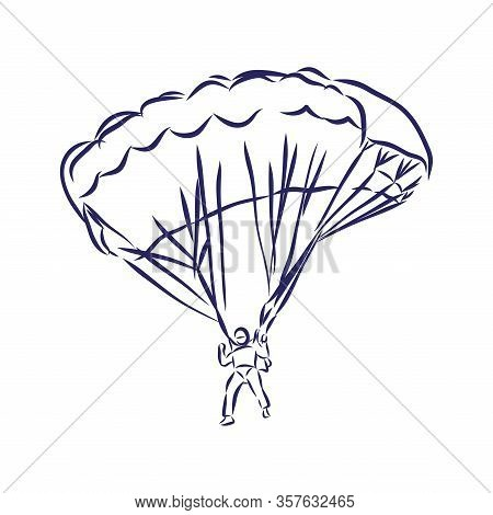 Vector Sketch Of Paragliding Flying Sportsman On A Wing