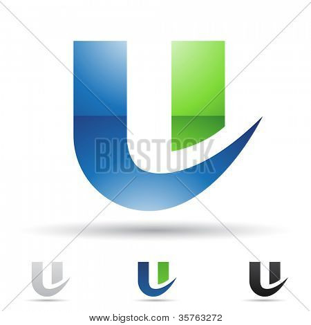 Vector illustration of abstract icons based on the letter U