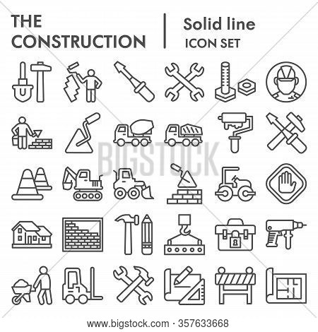 Construction Line Icon Set. Building Industry Signs Collection, Sketches, Logo Illustrations, Web Sy