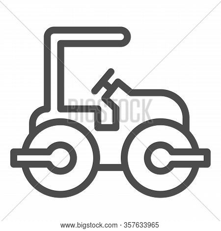 Road Paver Truck Line Icon. Roller Heavy Vehicle For Laying Asphalt Symbol, Outline Style Pictogram