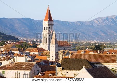 Trogir View With The Belfry Of The Cathedral Of St. Lawrence. Trogir Is A Historic Town In Croatia.