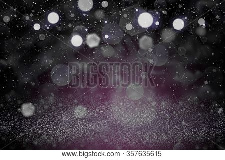 Pretty Shiny Abstract Background Glitter Lights With Falling Snow Flakes Fly Defocused Bokeh - Festa