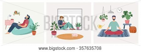 Quarantine, Stay At Home Concept Series - People Sitting At Their Home, Room Or Apartment, Practicin
