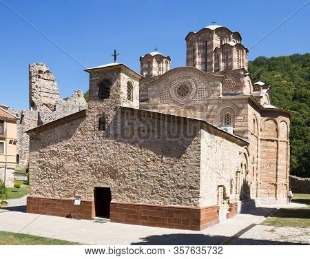 The Church In Ravanica Monastery In Serbia. The Monastery Was Built In The 14th Century. The Church