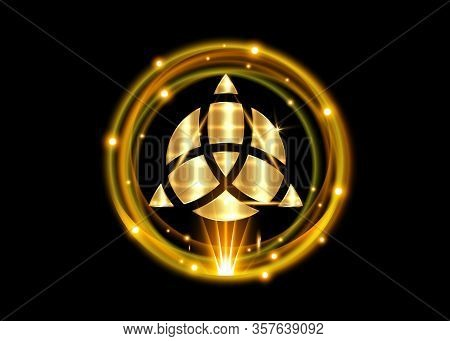 Triquetra Geometric Logo, Gold Shiny Round With Trinity Knot, Wiccan Symbol For Protection. Vector C