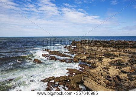 Photograph Of The Cantabrian Sea Hitting The Rocks Of Asturias, Spain