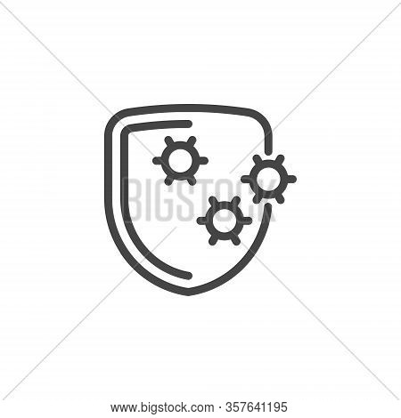 Shield Virus Icon. Protection Against The Spread Of Viral And Bacterial Diseases. Preventive Measure
