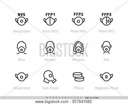 Breathing Medical Respiratory Class N95, Ffp1, Ffp2, Ffp3 Icons Set. Virus And Dust Protection. Coro
