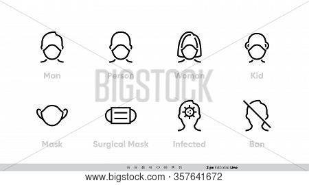 Medical Facemask Icon Vector Set. Smog Dust Pm2.5, Danger Virus, Corona, Protective Using Surgical M