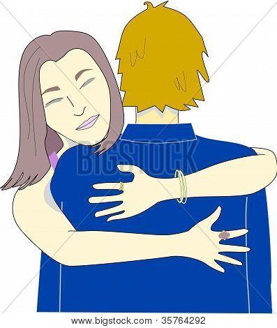 Girl Hugs A Man