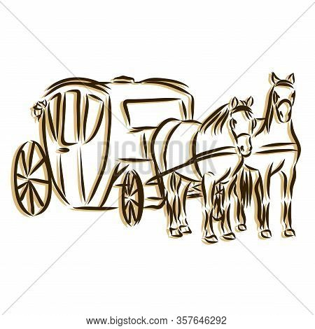 Hand Drawn Carriage Sketch Symbol Isolated On White Background. Vector Of Wedding Elements In Trendy