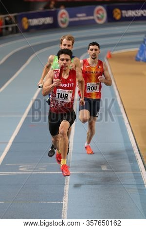 Istanbul, Turkey - February 15, 2020: Athletes Running 4x400 Relay Race During Balkan Athletics Indo