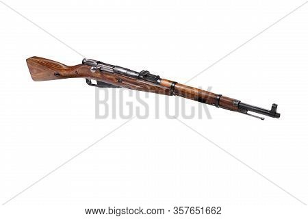Mosin Carbine - Obsolete Russian Rifle Without Strap Pointed Aside Isolated On A White Bacground