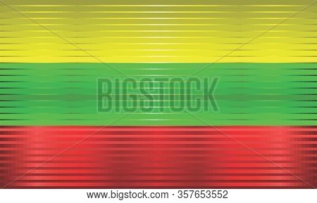 Shiny Grunge Flag Of The Lithuania - Illustration,  Three Dimensional Flag Of Lithuania