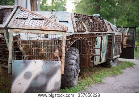 Wheeled Amphibious Armoured Personnel Carrier Btr On A Natural Background