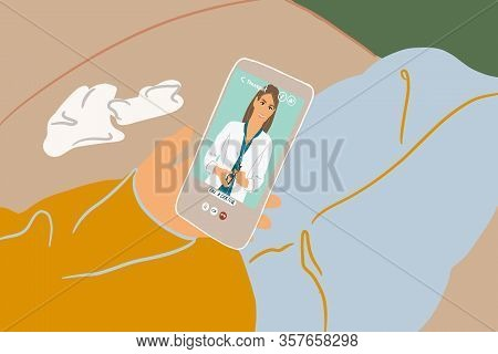 Patient Talking By Mobile Phone With A Doctor Online From Home. Concept Of Telemedicine And Medical