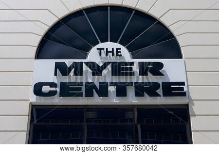 Brisbane, Queensland, Australia - 28th February 2020 : View Of The Myer Center Sign Hanging In Front