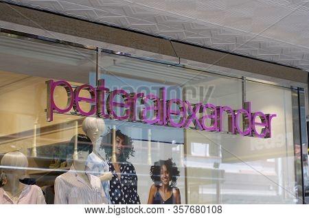 Brisbane, Queensland, Australia - 28th February 2020 : View Of A Peter Alexander Shop Sign Hanging O