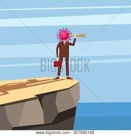 Virus Character, Human Body Head Virus, Standing On The Edge Of A Cliff Looking Into The Spyglass. M