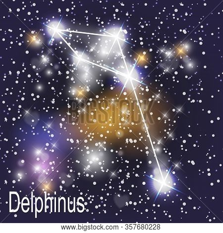Delphinus Constellation With Beautiful Bright Stars On The Background Of Cosmic Sky Vector Illustrat