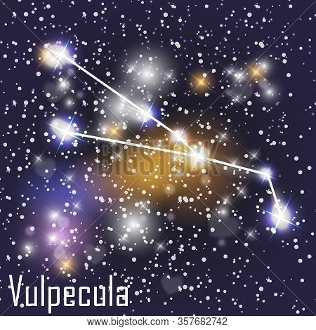 Vulpecula Constellation With Beautiful Bright Stars On The Background Of Cosmic Sky Vector Illustrat