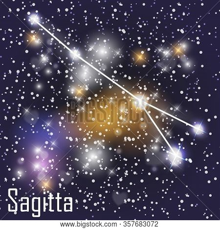 Sagitta Constellation With Beautiful Bright Stars On The Background Of Cosmic Sky Vector Illustratio