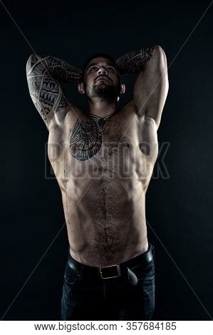 Handsome And Brutal Man. Bodybuilding Sport Concept. Hispanic Appearance Male Model. Training In Fit