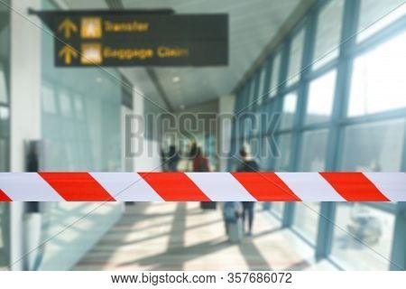 Covid-19 Corona Virus Outbreak Concept.airport Security Forbidden Sick Tourist At Airport Terminal F