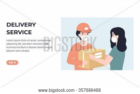 Delivery Courier In Medical Face Mask And Woman Customer. Concept For Banner, Poster, Layout, Websit