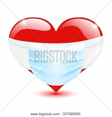 Heart In The Austria Flag Colors With A Medical Mask For Protection From Coronavirus