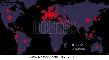 Covid-19 Coronavirus Pandemic In World, Planet Map Confirmed Cases Report. Global Quarantine Due To