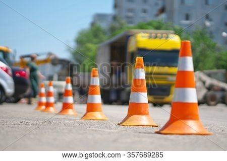 Row of Traffic cone in the road. Repair scene.