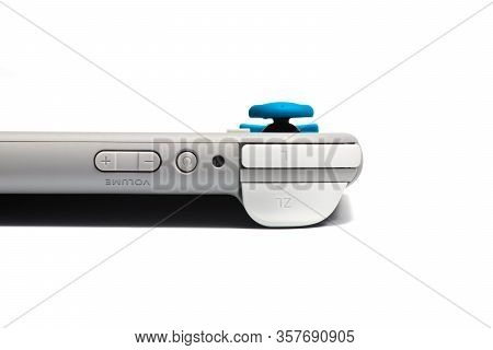 Moscow, Russia - February 18, 2020: Grey Nintendo Switch Lite On White Background. Latest Entry Into