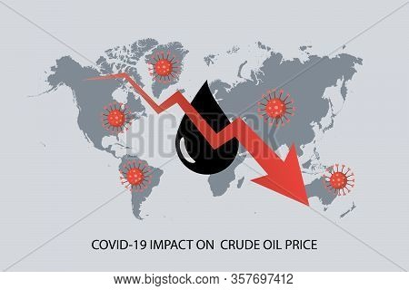 Covid-19 Pandemic Impact On Global Crude Oil Price. Downward Graph With Crude Oil Symbol With World