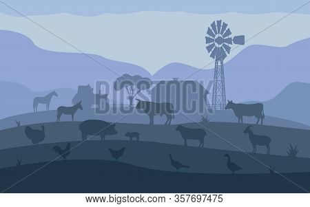Farm Animals. Livestock On The Background Of The Village, Rural Settlement. Vector Illustration Of F