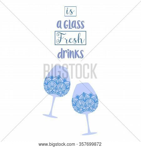 Two Stylish Decoration Glass With Amarula And Angela For Party. Vector