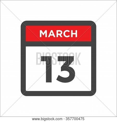 March 13 Calendar Icon - Day Of Month