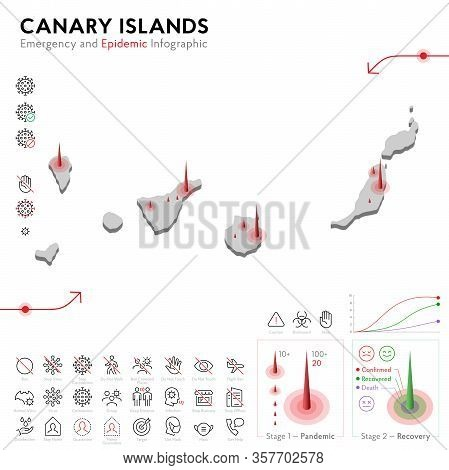 Map Of Canary Islands Epidemic And Quarantine Emergency Infographic Template. Editable Line Icons Fo