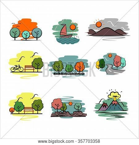 Landscape Icon Simple With Green Fields, Blue Sky And Clouds, Vector Cartoon Spring Or Summer Landsc
